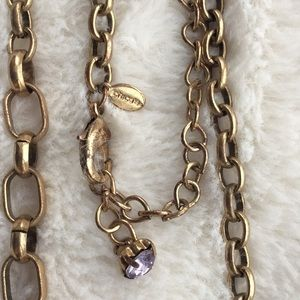 Chicos gold chain link necklace w/ stone clusters